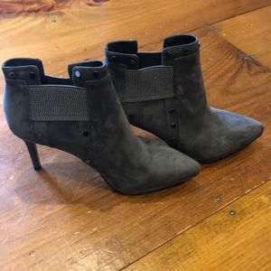 Karl Lagerfeld grey suede heeled booties